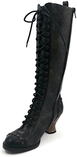 Hades Women's DOME Heel Boots Black Patent Leather