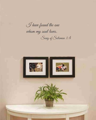 Newsee Decals I Have Found The One Whom My Soul Loves. Song Of Solomon 3:4 Vinyl Wall Art Inspirational Quotes And Saying Home Decor Decal Sticker front-1020420