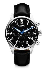 Golana Aero Chrono Men's Quartz Watch with Black Dial Chronograph Display and Black Leather Strap AE600-1