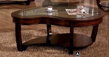 Crystal Falls Dark Cherry Finish Glass Top Coffee Table