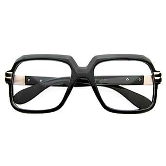Old School Vintage Squared Clear Lens Eyeglasses (Black-Fade)