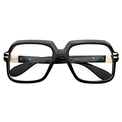 Old School Vintage Squared Clear Lens Eyeglasses (Black)