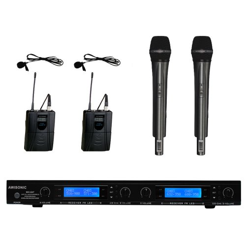 Awisco Uhf 847H2L2 4-Channel 2 Handheld & 2 Lapel (Lavalier) Wireless Microphone
