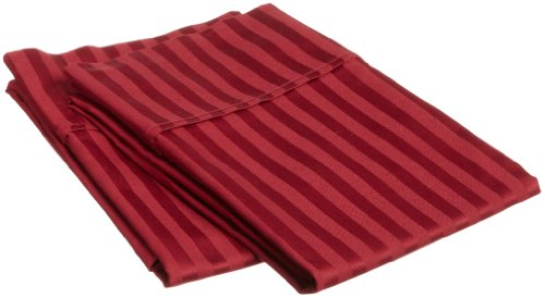 Impressions Genuine Egyptian Cotton 400 Thread Count Standard Pillowcase Pair Stripe, Burgundy front-804428