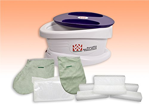 WaxWel_ Paraffin Bath - Unit Includes 6 lb. Peach Paraffin 100 Liners 1 Mitt and 1 Bootie