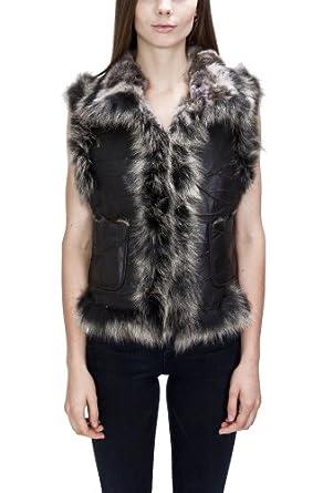United Face Womens Fox Fur Trimmed Lamb Leather Fur Vest, Black, X-Small