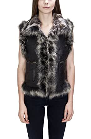 United Face Womens Fox Fur Trimmed Lamb Leather Fur Vest, Black, X-Small