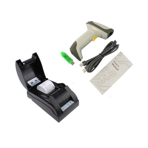POS Conversion Kit USB POS-5890 Thermal Printer, Automatic Laser Barcode Scanner