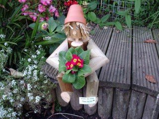 Flower Pot Man Garden Ornament - Great gardener gift for this summer (Flower Pot Log Man with a novel Bill and Ben type look)
