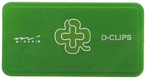 Midori D-Clip Paper Clips - Garden Series - Clover - Box of 30