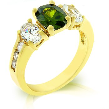 14k Gold Bonded Anniversary Ring with Prong Set Oval Cut Olive CZ Between Assorted Clear CZ in Goldtone