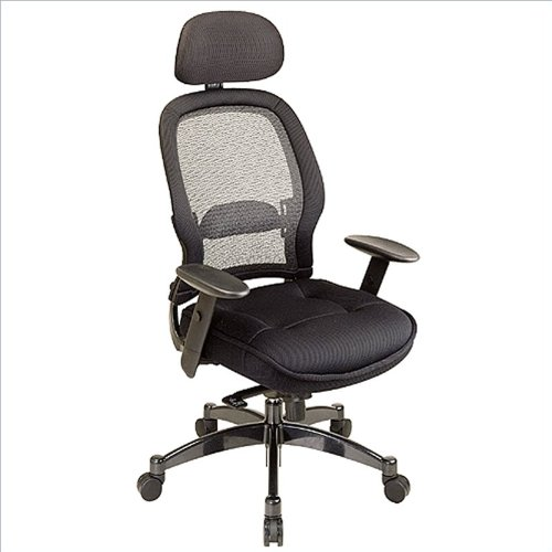 SPACE Seating Breathable Mesh Black Back and Padded Mesh Seat, 2-to-1 Synchro Tilt Control, Adjustable Arms and Lumbar Support, Gunmetal Finish Base Managers Chair with Adjustable Headrest