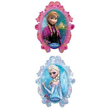 This Disney's Frozen Balloon features an image of the beautiful sisters Anna and Elsa - one on each side. This mylar balloon measures approximately 25 inches wide x 31 inches high.