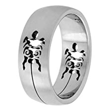 buy Surgical Steel Turtle Ring 8Mm Domed Wedding Band Cut-Out Design, Size 14