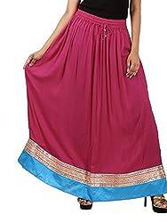 FEMEZONE Skirt Women's Cotton Regular Fit Rayon and Crepe Skirt (PINK, XXL)