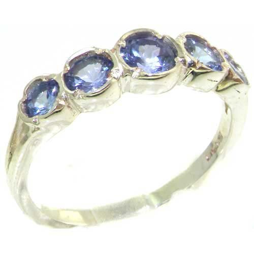 Genuine Solid Sterling Silver Natural Vibrant Tanzanite Womens High Quality Ring - Size 11.75 - Finger Sizes 4 to 12 Available - Suitable as an Anniversary ring, Engagement ring, High Quality ring, or Promise ring