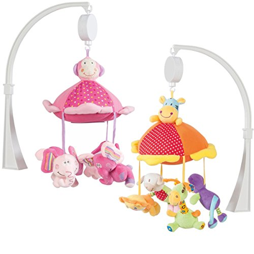 XXL-Musikmobile-mit-elektronische-Spieluhr-Mobile-Einschlafhilfe-fr-Babybett-Elefant-Rosa