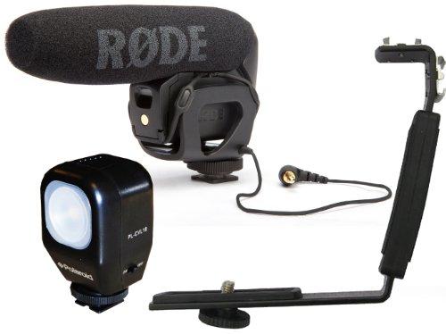 Rode VideoMic Pro Compact Directional On-camera Shotgun Microphone with Polaroid CVL-18 Studio Series Camcorder Video Light & Polaroid Camcorder/DSLR Dual Shoe Camera Bracket