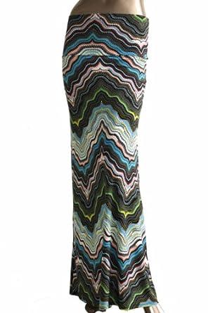 TrendzArt Azules Printed Wavy Design Maxi Skirt (Blue, Green, Peach, X-Large)