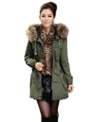 Womens Military Coat Cotton Parka Hooded with Trim Faux Fur