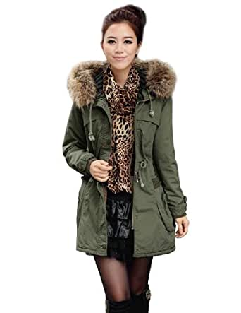 Womens Military Coat Parka Hooded Warm Thicken Trim Faux