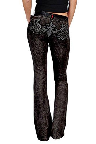 T-Party Women's Fleur De Lis Wing Patch Yoga Pants Size Small