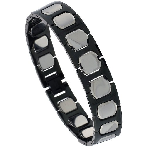 Sabrina Silver Tungsten & Ceramic 2-Tone (Gun Metal & Black) H & Cushion Link Bracelet, 1/2 in. (13mm) wide (BTN150)