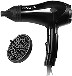 Nova NHP-8201 Professional Hair Dryer with Diffuser (Black)