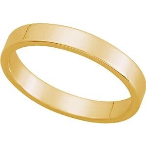 18ct Yellow Gold, Flat Wedding Band 3MM (sz P)