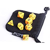 Yellow Opaque Polyhedral Dice Set | 7 Piece | Pristine Edition | Free Dice Bag | Hand Checked Quality | Money...