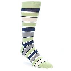 Statement Sockwear Stripes Pattern Men's Socks (Pistachio Green) Men's shoe size 8-12.