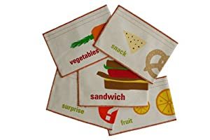 graze organic Deluxe 5 Pack Organic Reusable Snack Bags, Sandwich, Vegetable and Fruit Snack