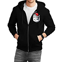 Fanideaz Men's Cotton Pokemon Pokeball Pocket Zipper Sweatshirt with Hood_Black_S
