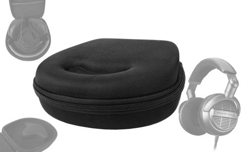 Duragadget Hard Eva Small Storage Case For Headphones / Earbuds For Beyer Dynamic Dtx910 - With Netted Compartment (Black)
