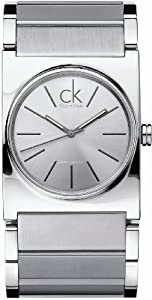 Calvin Klein Men's Epitome K5121120 Silver Stainless-Steel Swiss Quartz Watch with Silver Dial