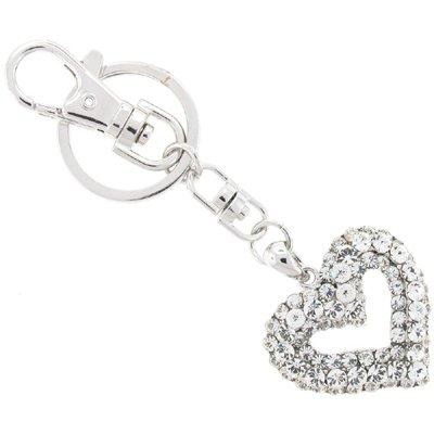 & klar Silber Swarovski-Kristalle Herz-Charm/Schlüsselanhänger Handtasche