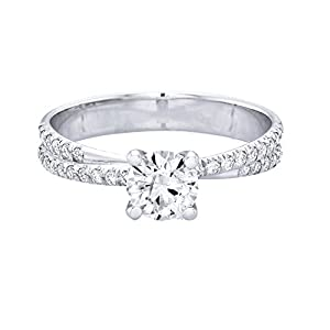 GIA Certified 14k white-gold Round Cut Diamond Engagement Ring (0.74 cttw, J Color, SI1 Clarity)