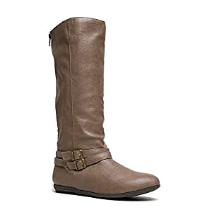 Qupid Ridge-01A Women's Knee High Riding Boots, Color:TAUPE, Size:8