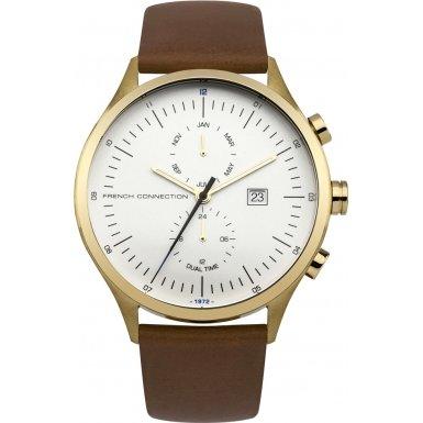 French Connection-Reloj con mecanismo de cuarzo para hombre color blanco esfera analógica pantalla y correa de cuero Bronce fc1266tg