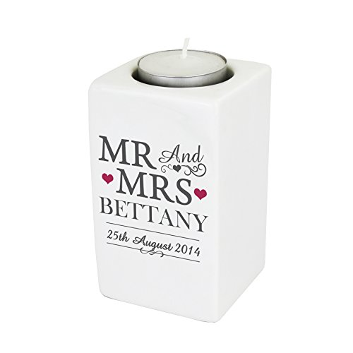 Mr & Mrs Ceramic Tea Light Candle Holder. This is a great product that can be personalised to your requirements ( please see main discription for full details ) Ideal gifts and presents for weddings, Christenings, Birthdays, Christmas etc...