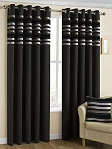 """Kings Black Silver 90"""" X 54"""" Striped Lined Ring Top Curtains #nylkoorb *bel*"""