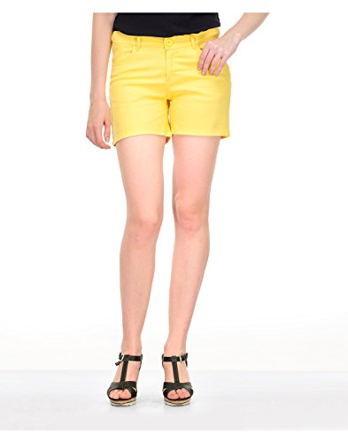 Yepme Women's Yellow Blended Shorts - YPMSORT5039_34