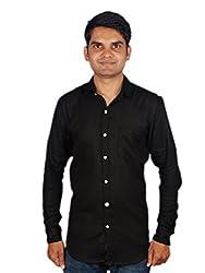 Maclavaro Mens Casual Solid Shirt_9PLNCOTBLK_Black_M