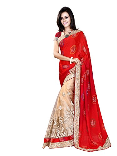 Fressia-Exclusive-Red-half-and-half-Bandhej-Pattern-saree-for-women-party-wear