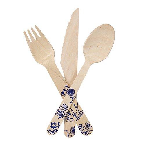 Talking Tables Party Porcelain Lot de couverts en bois Bleu Lot de 6