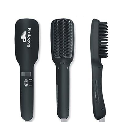 Proteove Hair Straightener Brush 2.0,Anion instant Magic Silky Straight Hair Styling, Anti Scald Anti Static Ceramic Heating Detangling Hair(Black)