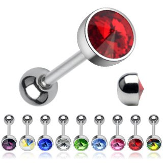 3 Piece Stainless Steel Straight Barbell with Press Fit 7mm Crystal Flat Top Ball 14G; Comes With Free Box