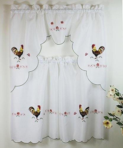 Rooster Jacquard Kitchen Curtain with Swag and Tier Set 36 In (Kitchen Curtains With Roosters compare prices)