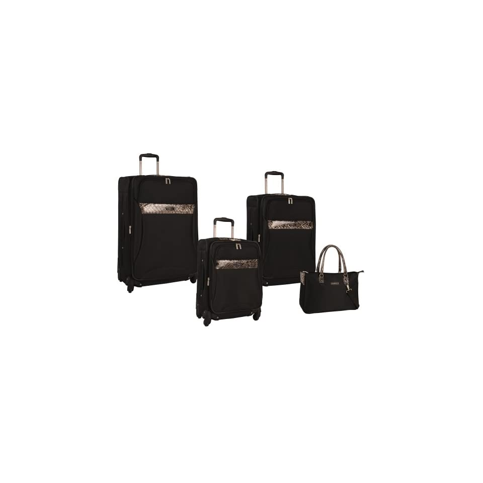 f184b05b1d Anne Klein Luggage Safari 4 Piece Luggage Set, Black, One Size on ...