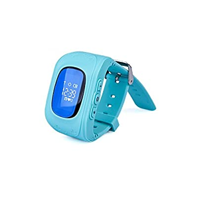 Neelam® I9 Real GPS Tracker OLED Kids Smart Wrist Watch for GPS GPRS GSM System with LBS+GPS/ Children Safe Security/ SOS Surveillance/Pedometer /Audio Remote Monitor / Remote Power Off/Alarms/Bluetooth Anti-lost for Children(Blue)